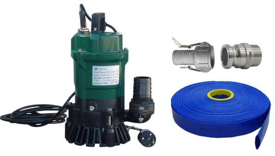 "2"" Reid Drainvac 400 Semi-Vortex Drainage Submersible Pump - Float Switch + Hose Kit"